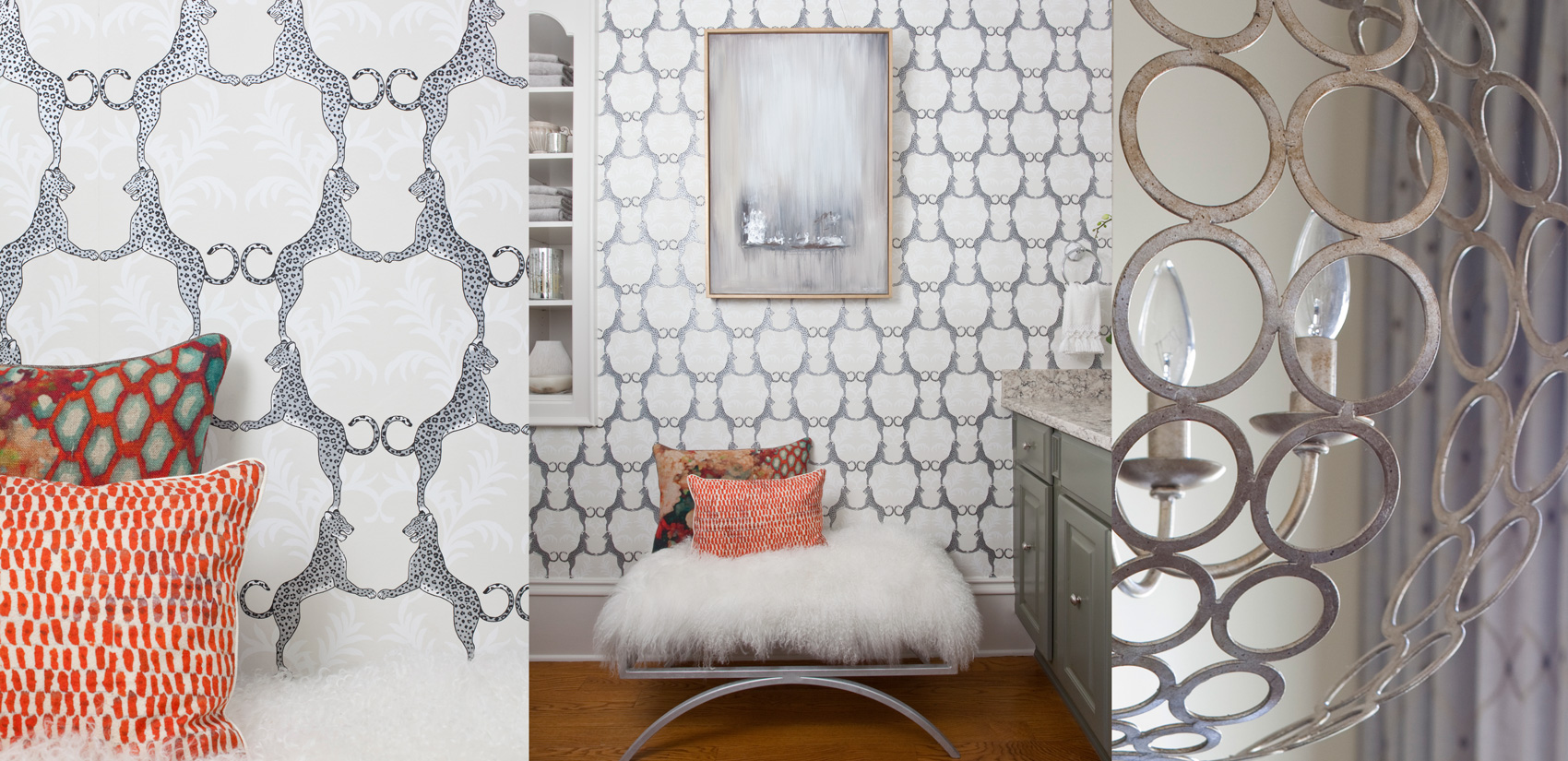 Wallpaper and Chandelier Photos. Bathroom & Dining Room Interiors