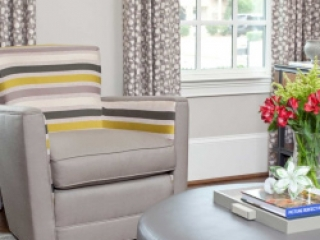 Transitional sophisticated window treatments and upholstery